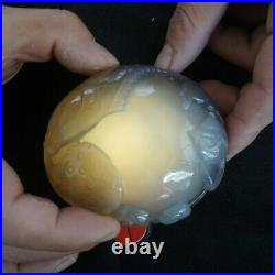0.9LB BIG Rare Natural Moving Water Bubbles ENHYDRO Agate Quartz Crystal Carving