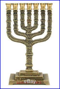 12 Bible Tribes of Israel MENORAH Copper Big Rare, Jerusalem Jewish seven branch