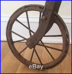 1800's Style Children's Childs Penny Farthing Big Wheel Bicycle And Stand Rare