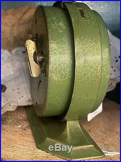 1927 Rare Antique Westclox Big Ben DeLuxe Alarm Clock Green Gold Crackle