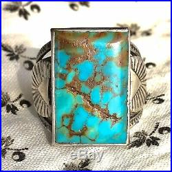 1930 Mens Neon Blue Royston Rare Old Turquoise Silver Ring Big Rectangle FRED