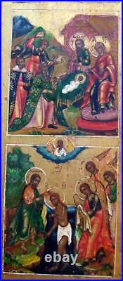 19c RARE RUSSIAN ORTHODOX BIG ICON RESURRECTION 12 FEASTS on gold