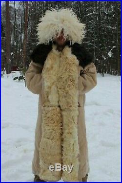 60 Rare Big Original True Russian Tulup USSR Overcoat Bekesha Sheepskin Coat1981
