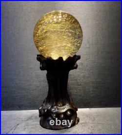60mm BIG! Rare Natural Clear Gold Rutilated Quartz Crystal Sphere Ball Healing