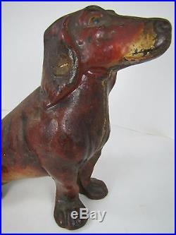 Antique Cast Iron Sitting Dachschund Doorstop orig old paint big weiner dog Rare