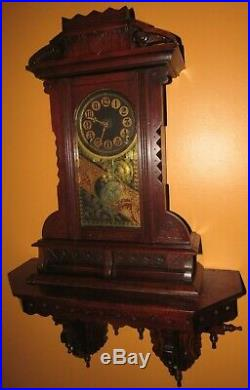 Antique E. Ingraham Hanging Kitchen Wall Clock Rare And Big 8-day, Time/strike