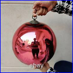 Antique German Kugel Big Heavy 10.25 Red Round Christmas Ornament Extra Rare