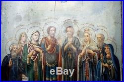 BIG Antique 19c Russian Wood Hand Painted Icon Family Saints 35x29 cm Rare