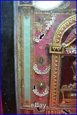 BIG FRAME shrine relic reliquary TRUE CROSS D. N. J. C. +15 RARE SAINTS