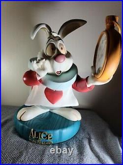 Disney Big Fig Figure Alice in Wonderland White Rabbit Missing glasses Rare