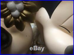 Disney Mickey Minnie Victorian Christmas Large Big Figure Mistletoe Kiss RARE