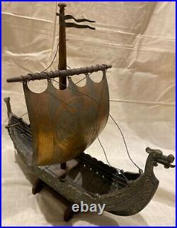 Edward Aagaard. Rare BIG Vintage Bronze Viking Dragon ship IRON ART Copenhagen