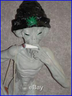 Extremely Rare! Grey Alien Smoking A Joint Big Figurine Statue