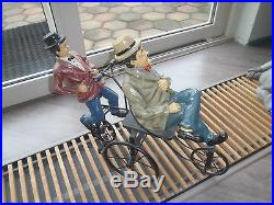 Extremely Rare! Laurel & Hardy on Bike Big Figurine Statue