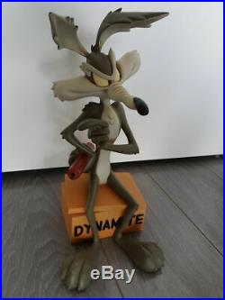 Extremely Rare! Looney Tunes Wile E Coyote on TNT Dynamite Big Figurine Statue