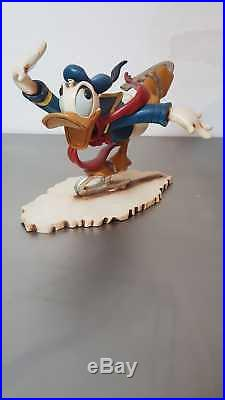 Extremely Rare! Walt Disney Donald Duck Ice Skating Old Big Figurine Statue