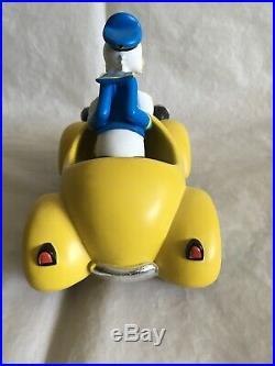 Extremely Rare! Walt Disney Donald Duck Yellow Car Big Fig Figurine Statue