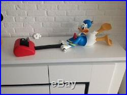 Extremely Rare! Walt Disney Donald Duck with Lawnmower Big Figurine Statue
