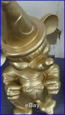 Extremely Rare! Walt Disney Mickey Mouse Fantasia in Gold Color Big Fig Statue