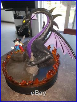 Extremely Rare! Walt Disney Mickey Mouse Fighting Dragon Big Figurine Statue