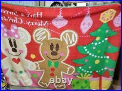NEW Tokyo Disney Christmas Blanket Gingerbread Mickey Minnie BIG Size 2010 Rare