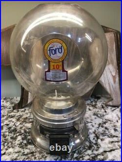 RARE 1 Vendor Vintage Ford Gum Gumball Machine with Decal & Big Plastic Globe