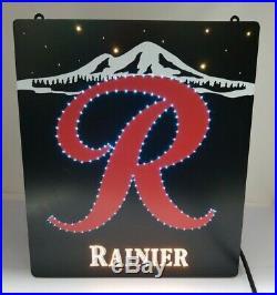 RARE 1988 Vintage Rainier Beer Big R Fiber Optic Lighted/Blinking & Color