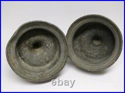 RARE Antique 17-18th C. SET 2 Big PORTUGUESE BULBOUS PEWTER CAPSTAN CANDLESTICKS