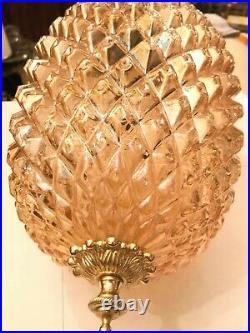 RARE Antique BEAUTIFUL Hanging Chain Lamp Big AMAZING Crystal Pendant 3D Glass