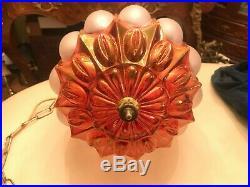 RARE Antique Multicolor Hanging Chain Lamp w. Big AMAZING Crystal Pendant Glass