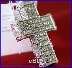 RARE BIG HEAVY MENS RUSSIAN ORTHODOX BODY ICON CROSS SILVER 925 SAINTS. 35g NEW
