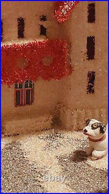 RARE & VERY BIG VINTAGE 1920's Cardboard Coconut Putz HOUSE MANSION BOY DOG