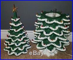 RARE VINTAGE LARGE 34 Atlantic Mold Ceramic Christmas Tree Flocked Light Up BIG
