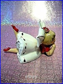 RARE VTG Inarco Christmas Poinsettia Big Bow Girl Angel Bloomer Figurine