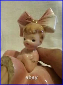 RARE VTG Inarco Pink Big Bow Girl Angel Bloomer Trinket Box Figurine