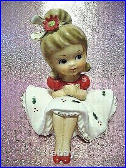 RARE VTG Napco Christmas Poinsettia Big Bow Girl Angel Bloomer Figurine