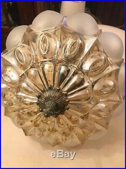 RARE Vintage BEAUTIFUL Hanging Chain Lamp w. Big AMAZING Crystal Pendant Glass