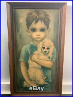 RARE Vintage BIG EYES Margaret Walter KEANE No Dogs Allowed boy/dog signed
