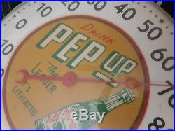 RARE vintage PEP UP big boy beverages 12 thermometer, patina! Working condition