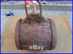 Rare Big Antique Wooden Sailor Flask Vessel Keg Barrel Canteen 19th Century