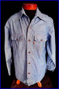 Rare Big E Collectible Levi Vintage 1970's Blue Denim Shirt Jacket Size Large