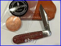 Rare Great Eastern Northwoods Big Bay Knife Red Burlap Micarta