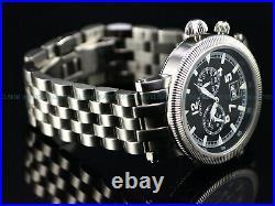 Rare Invicta 46mm Vintage Collection Swiss Made Ronda Alarm Big Date Black Watch