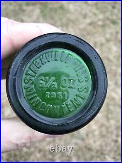 Rare Nice Emerald Green Emboss Deco Chief Indian Soda Bottle Starkville Miss Big