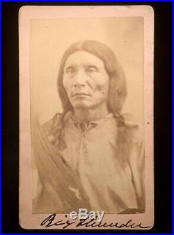 Rare Original Native American CDV Of Big Thunder Fort Reno, Indian Territory