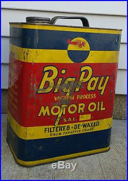 Rare Vintage 2 Gallon Big Pay Vacuum Process Motor Oil Can, XLNT Color