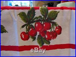 Rare Vintage BIG Red Cherry Bundles Tablecloth Draped Cherries White 60 X 51