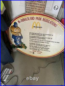 Rare Vintage Original Sign MC Donald's Park Regulations 3 D Officer Big Mac