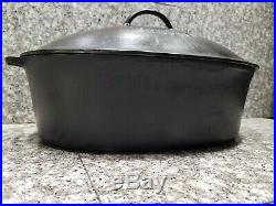 Rare Wardway W-1416 Cast Iron Oval Self Dripping Chicken Roaster Dutch Oven BIG