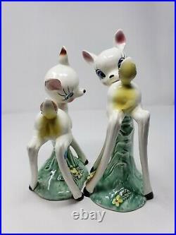 Set of 2 Vtg RARE White Long Leg Bambi Deer Japan Ceramic Porcelain 10'' BIG EYE